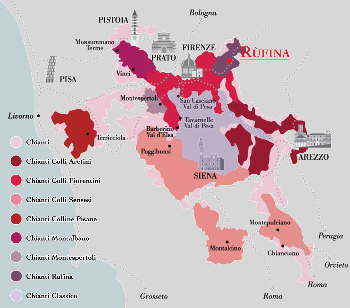 Map of Chianti Zones with Rùfina